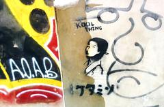 Kool Thing (Exile on Ontario St) Tags: montreal streetart graffiti plateau ruelle montral street art urbain urban wall murals mural walls painting plateaumontroyal alleys alley ruelles alleyway alleyways paint written words kanji japanese japonais langue language kool thing stencil stencils