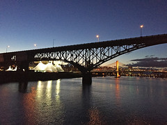 Portland bridges at night - water view (Liz Satter) Tags: portland or oregon portlandspirit willametteriver bridges