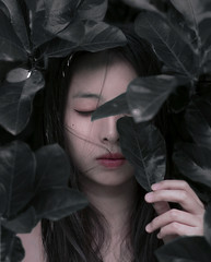 I Wish I was a Tree (ThaoNhi196) Tags: girl asian tree leaves fineart amateur model 50mm f20 iso100 nature 60d abstract darkness sad sadness woman modeling vietnam korea japanese nightmare dream evening outdoor leaf black green human asia