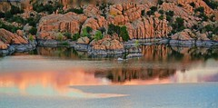 THROUGH ROSE TINTED GLASSES (Irene2727) Tags: lakewatson lake lakescape scape landscape sunset pink reflection rocks clouds water blue