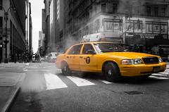 Taxi (Ash and Debris) Tags: bnw smoke street newyork urbanlife contrast taxi monochrome nyc car usa urban bw clitylife yellow city blackandwhite