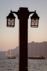 Lamp Post and boats in Ammoudi Bay, Santorini