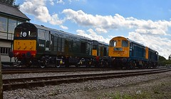 4 Class 20 Locos, once a very common sight around Britains Railways. Green Locos D8059 & D8188 are stabled, as classmates 20189 & 20205 move past on a positioning move. 09 09 2016 (pnb511) Tags: mnr midnorfolkrailway train engine loco locomotive diesel class20 pair track dieselgala