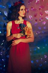 Diametric (Spectrum) (Dizzodin) Tags: color portrait oil paint light experiment fine art conceptual avant garde retro red blue rainbow flowers girl dress crown cd shiny
