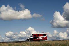 RV (Curtis Gregory Perry) Tags: pendleton oregon rv itasca navion red recreational vehicle blue sky clouds highway 30 old grass road nikon d800e trail