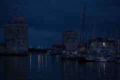 La Rochelle (by night) (Michel Couprie) Tags: france charente larochelle harbor port sea mer seascape light night bluehour reflection composition medieval tower architecture canon eos michel couprie boats bateaux