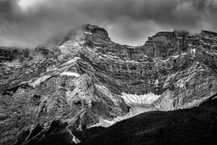 Stormy Tops (Dan Fleury) Tags: alberta improvementdistrictno9 canada ca cascade mountain snow rockies banff national parks bnw black white contrast rocky clouds sky earth cans2s