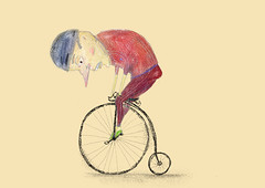 Retro Bicycle (twiing) Tags: bicycle retro art artist sketching sketch summer street september drawing digital digitalart draw design dream surreal man photoshop person pencil paint portrait color illustration
