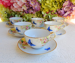 Nippon Porcelain Cups & Saucers Hand Painted Butterflies Pink Flowers (Donna's Collectables) Tags: nippon porcelain painted butterflies pink flowers thanksgiving christmas