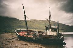 Corran Crossing (ShrubMonkey (Julian Heritage)) Tags: corran lochlinnhe scotland highlands wreck abandoned derelict decay nautical boat fishingboat a7r cloud mountains beached dashed trawler ardgour lowtide lochaber hull sonyalpha