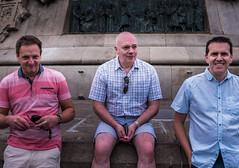 Geoff Rob & Paul ( Base of the Columbus Monument in Barcelona (Spain) (Panasonic Lumix DMC-LX100 Compact) (1 of 1) (markdbaynham) Tags: group people barcelona panasonic dmclx100 lx100 compact 2475mm f1728