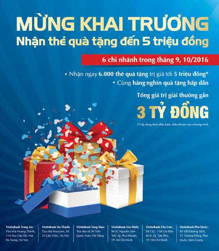 Giao dịch là có quà tại 6 chi nhánh mới của VietinBank