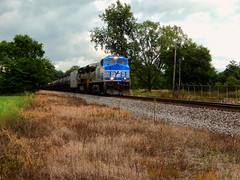 NS 4000 and the Erie heritage unit crossing the former Erie Lackawanna location at Huntington Indiana (Matt Ditton) Tags: huntington indiana erie ns 4000 train railroad