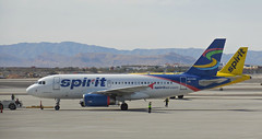 Spirit Airlines /KLAS (kenjet) Tags: nk lv las klas vegas lasvegas spirit spiritair spiritairlines lasvegasmccarraninternationalairport airbus a319 a319100 a319132 n515nk n503nk eiecx windjet aviation airline airliner departing pushback tug departure airport airplane jet plane transportation yellow livery