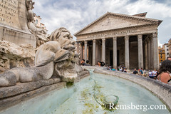 Rome, Italy- Close up of a fountain outside of the Roman Pantheon, the most preserved building from Ancient Rome. It was built between AD 118 and 125 by Emperor Hadrian. (Remsberg Photos) Tags: europe italy rome ancient ancientcivilization roman architecture buitstructure tourist sightseeing photography history historical internationallandmark capitolcity romaprovince ancientrome art fountain pantheon emerorhadrian ita