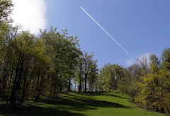 Passing through (Majorimi) Tags: canon eos 70d digital color colorful nice hungary sky ski slopes tree green grass airplane passing through line condense