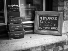 A Perfect Diet!! (All I want for Christmas is a Leica) Tags: panasoniclumixg3 panasoniclumix25mmf14 bruges brugge belgium monochrome blackwhite signs perfectdiet outside