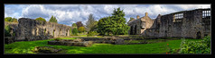 Whalley Abbey (Kevin, (Away 21 Oct / 9 Nov) Traveling) Tags: 12thcentury architecture building canon1100d canon1855mm chapel church clitheroe england hdr historical kevinwalker lancashire medieval sky whalleyabbey panoramic panorama widescreen trees