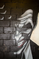 Joker close up (PDKImages) Tags: art artinthecity manchesterstreetgallery manchester walls murals beauty woman lady girl pretty beautiful skull butterfly bee fish chicks alone joker thejoker sinister sneer hidden ladders checks skyline birds