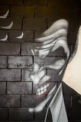 Joker close up (PDKImages) Tags: art artinthecity manchesterstreetgallery manchester walls murals beauty woman lady girl pretty beautiful skull butterfly bee fish chicks alone joker thejoker sinister sneer hidden ladders checks skyline birds