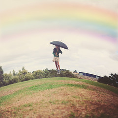 Into the Sky (Annie H Bui) Tags: park green umbrella canon photography fly rainbow warp adventure float 52week