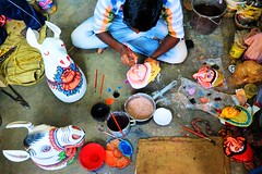 Mask-Makers of Charida (pallab seth) Tags: travel india tourism dance artist village dancers mask folk traditional culture dancer tribal economy artisans folkdance tribaldance westbengal chhau purulia charida warriordance maskmakers warriormask chorida gettyimagesmiddleeast oldestmaskeddance chhaumask