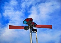 Signal (Russ Allison Loar) Tags: railroad sky weather sign clouds train warning trafficlight tracks engine rail stopsign amtrak caution greenlight redlight signal engineer sunnyday meteorology southernpacific trainsignal nephrology lomitatrainmuseum