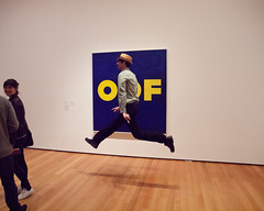 OOF (TheeErin) Tags: usa art museum modern painting word jump unitedstates graphic text moma edward popart type why amusing ruscha whynot whimsical airborn oof wordpainting jumpity
