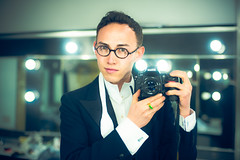Self Portrait (TGKW) Tags: camera boy portrait people white man reflection self project gold lights glasses mirror costume nikon photographer theatre bokeh room tie tommy dressing ring stewart jade bow salon projects wan period untitled tails waistcoat citizens laing the 5963 gaken tgkw