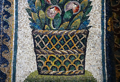 Detail of basket at base of arch mosaic, The Mausoleum of Galla Placidia