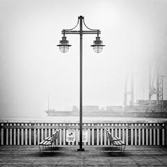 Portside Park, Vancouver (. Jianwei .) Tags: street mist lamp rain fog bench mood harbour crane geometry atmosphere symmetry deck fade portside a55 portsidepark kemily 2013syzy