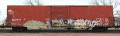 Kuhr/Bonus/Six/Enya/Jase (quiet-silence) Tags: railroad art train graffiti flat railcar mtv boxcar bonus ba graff six ons freight enya jase fr8 kuhr baex baex544