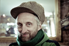 Ted in his natural habitat (Sia A) Tags: sea portrait england man green english smile hat beard coast kent seaside britain coastal british margate effrafc effrawarm effradayout