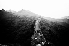 Cross Path (Simon Hua) Tags: china people blackandwhite bw white black wall contrast climb high path beijing explore sliver greatwall 2010 thegreatwall efex