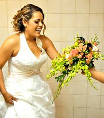 Bride (Hannie Lynn) Tags: flowers wedding roses portrait color bride nikon orchids bouquet moment callalilies bridalbouquet