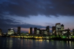 soft focus sunset (HAMACHI!) Tags: bridge sky cloud japan night river tokyo spring waterfront market illumination tsukiji ligth fujifilm kachidoki kachidokibashi 2013 kachidokibridge x100s fujifilmx100s