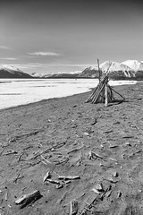 Atlin Lake View (yukonchris) Tags: blackandwhite bw mountain snow ice beauty landscape island spring bc britishcolumbia april naturalbeauty frozenlake northernbc atlin incomparable atlinlake atlinmountain canon7d atlinbritishcolumbia