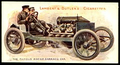 Cigarette Card - 200hp Darracq, 1908 (cigcardpix) Tags: vintage advertising ephemera automobiles cigarettecards motorcar