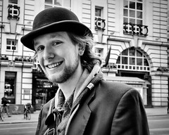 Bowler Man (SlickSnap Steve) Tags: portrait people urban blackandwhite london portraits nikon steve streetphotography bowlerhat peoplewearinghats d3100