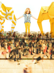 The Little Guardian (Tomasito.!) Tags: people urban hk woman usa white elephant building cute girl beautiful yellow train giant paper subway poster hongkong photo nikon asia southeastasia child guess steel philippines central chinese picture gap adorable sigma wideangle american trainstation transportation innocence rushhour caucasian slowshutterspeed supercute astounding uwa tomasito cut