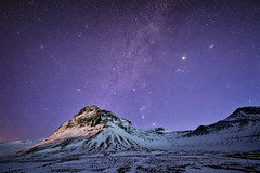 Celestial Bodies (TheFella) Tags: road travel winter sky mountain snow mountains slr nature night digital photoshop stars landscape star photo iceland nikon europe