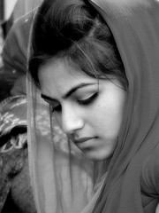 beauty (brescia, punjab for one day) (bloodybee) Tags: portrait bw italy woman girl beauty face festival europe religion celebration event procession sikh brescia manifestation punjabi vaisakhi baisakhi nagarkirtan vasakhi vaishakhi baisakhibrescia baisakhi2013brescia