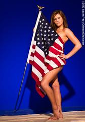 Red White & Blue (crimsonchain) Tags: blue woman feet fashion foot legs bare flag hannah american barefoot barefeet shoulders knees