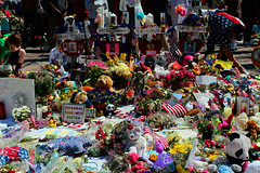 Boston Memorial (D.Reyes) Tags: bear pink flowers blue red roses people usa flower green yellow boston america writing hearts hands memorial candles peace sad tulips teddy ominous marathon buddhist flag religion explosion lion crosses americanflag tourist christian american teddybear posters shock tibetan bombing prayers vases shocked bostonmarathon pinkbear prayforboston bostonstrong