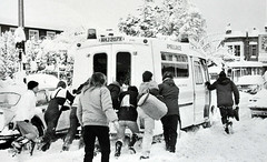 A Helping Hand....1987 (colinfpickett) Tags: winter snow cold ambulance kind slippery helping drift 999 helpinghand daysgoneby