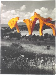Exceptionally Unusual Incident 2013 (kirkhof) Tags: light sky blackandwhite bw orange flower color colour art love nature smile collage illustration clouds analog paper landscape mushrooms book golden artwork poetry gallery handmade space kunst paste glue magic meadow surreal collection installation montage photomontage cutouts botany photocollage vintagepaper bookpage foundmaterials colleetpapier