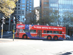 SIGHTSEEING SYDNEY (RubyGoes) Tags: road blue light red white man bus cars tourism stars lights traffic flag sydney australia tourists double nsw operahouse asphalt harbourbridge joggers soh decker sydneyexplorer