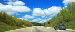 Highway Scenes (2) (Nicholas_T) Tags: road sky clouds spring highway driving pennsylvania cumulus creativecommons poconos i80 interstate80 monroecounty