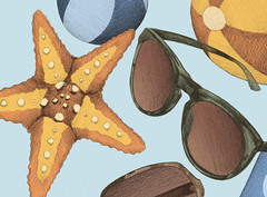 Herr Menig Optik at the Beach (Philipp Zurmoehle) Tags: blue orange sun beach sunglasses yellow illustration ball glasses drink drawing postcard ad balls illustrations drawings postcards handdrawing optician handdrawn optics optik menig herrmenig