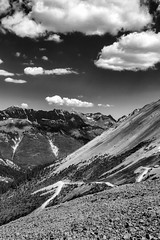 Lonely Switchback (Scosanf) Tags: colorado coloradotrails mountains monochrome rockymountains sanjuanmountains outdoor nature blackandwhite bw sun sky clouds travel trip summer vacation canon eos 6d ef2470mmf28lusm topazlabs